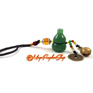 Wu Lou for Health with Bell Feng Shui Hanging (Aventurine)