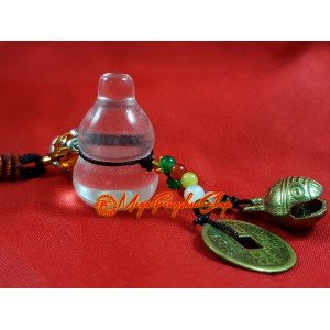Wu Lou for Health with Bell Feng Shui Hanging (Clear Quartz)