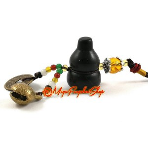 Wu Lou for Health with Bell Feng Shui Hanging (Obsidian)