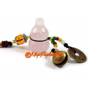 Wu Lou for Health with Bell Feng Shui Hanging (Rose Quartz)