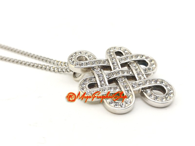 925 silver feng shui mystic knot pendant with swarovski crystals mozeypictures Image collections