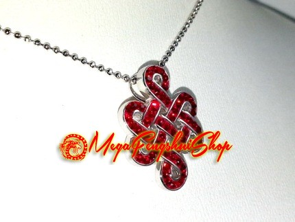 925 silver feng shui mystic knot pendant with red swarovski crystals aloadofball Choice Image