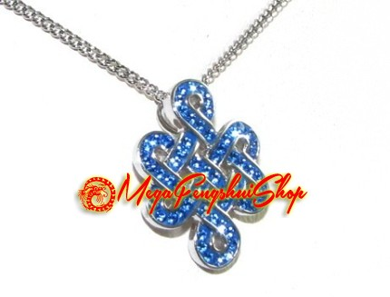 Silver mystic knot pendant with blue swarovski crystals 925 silver mystic knot pendant with blue swarovski crystals mozeypictures Image collections