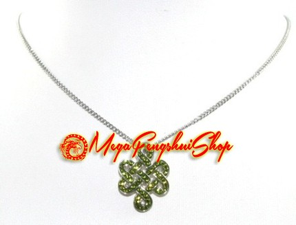 925 silver mystic knot pendant with green swarovski crystals mozeypictures Image collections