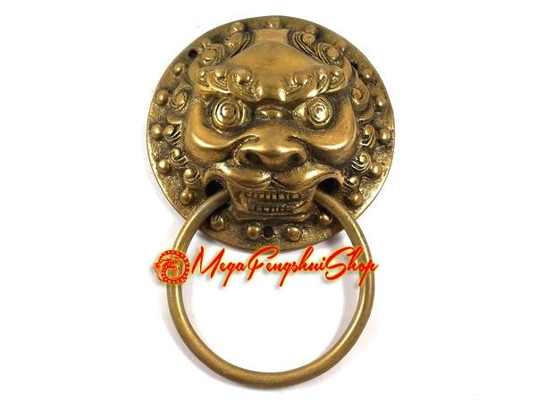 brass temple lion feng shui door knocker. Black Bedroom Furniture Sets. Home Design Ideas