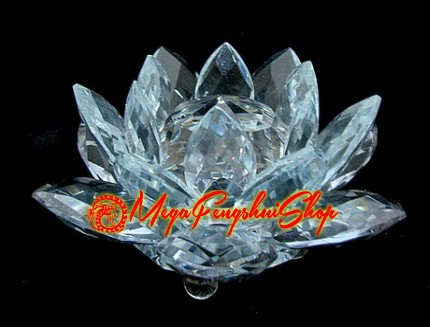 Crystal feng shui lotus flower blue mightylinksfo Image collections