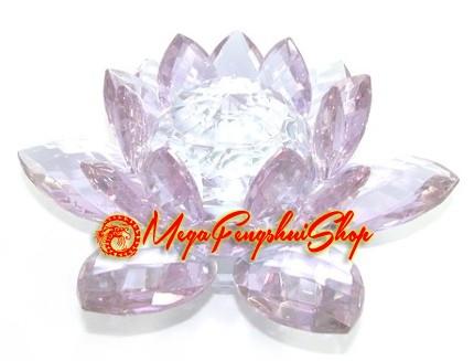Crystal Feng Shui Lotus Flower Light Purple
