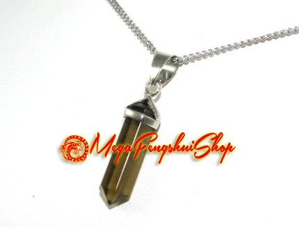 Double terminated crystal point pendant s smoky quartz aloadofball Image collections