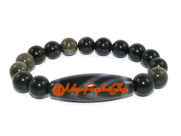 dzi bead with golden obsidian bracelet