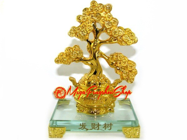 exquisite golden feng shui wealth granting tree on wealth pot. Black Bedroom Furniture Sets. Home Design Ideas