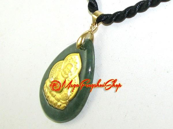 Exquisite golden laughing buddha jade pendant grade a aloadofball Images