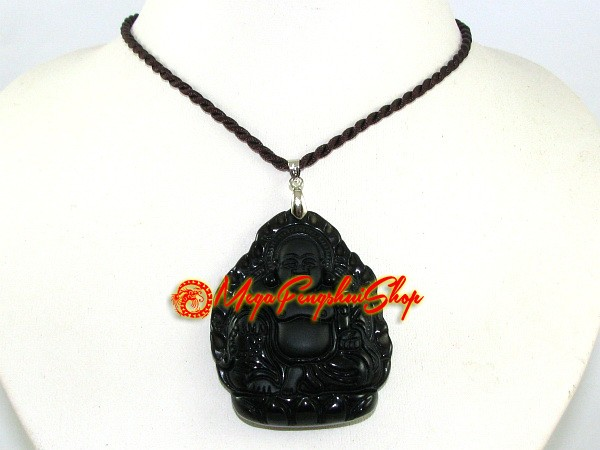 Exquisite laughing buddha pendant obsidian aloadofball Image collections