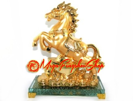 golden feng shui horse of success with gold ingot and coins. Black Bedroom Furniture Sets. Home Design Ideas