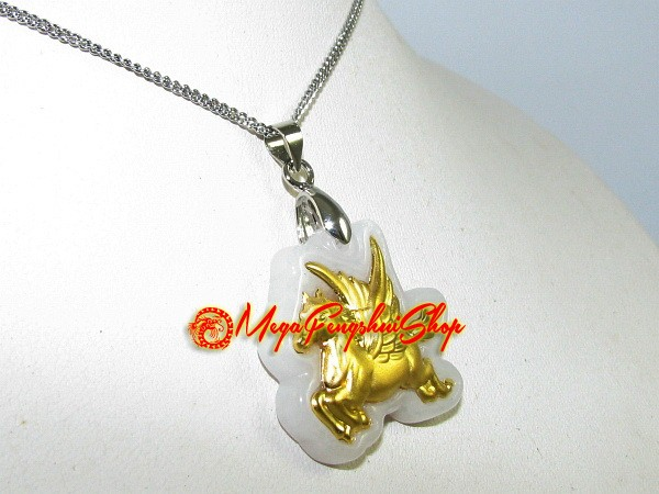 Good fortune gold flying horse on high quality jade pendant aloadofball Choice Image