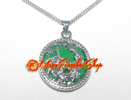 Green jade dragon pendant necklace round aloadofball Images