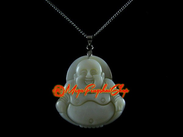 Laughing buddha pendant necklace white shell aloadofball Image collections