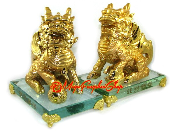 majestic pair of golden feng shui chi lin. Black Bedroom Furniture Sets. Home Design Ideas