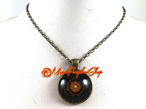 Sacred Sri Yantra Mandala Geometry Pendant Necklace
