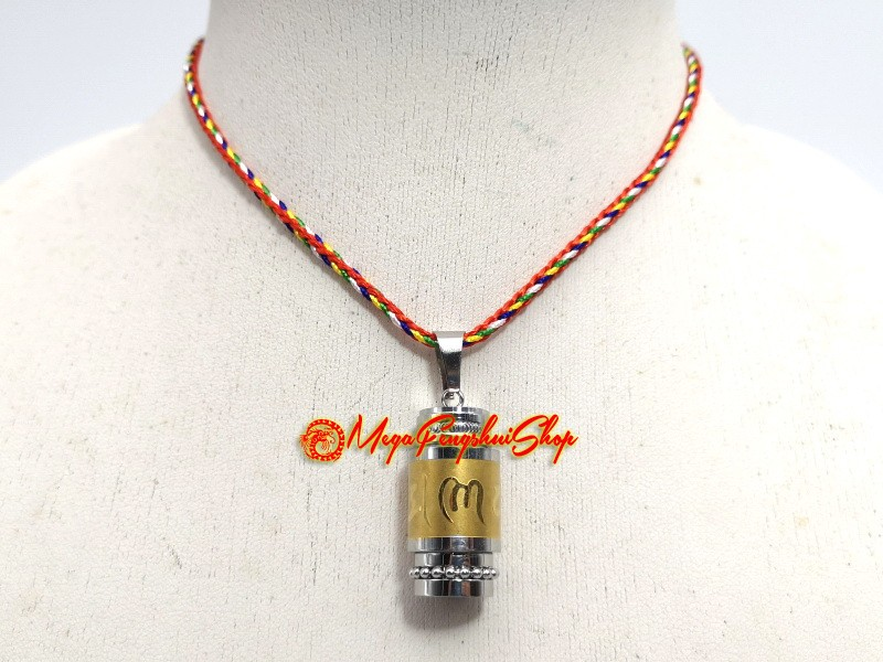 Tibetan prayer wheel pendant with mantra stainless steel mozeypictures Gallery