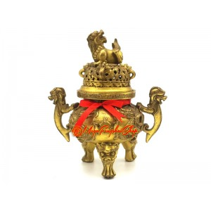 9 Dragons Brass Incense Burner with Pi Xiu (S)