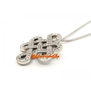 925 Silver Feng Shui Mystic Knot Pendant with Swarovski Crystals