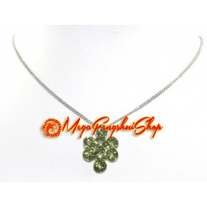 925 Silver Mystic Knot Pendant with Green Swarovski Crystals