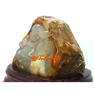 Agate Chalcedony Geode Carved Laughing Buddha Sculpture