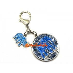 Anti Robbery Amulet with Blue Rhino and Elephant Keychain