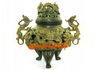 Antiqued Brass Feng Shui Nine Dragons Incense Burner (L)