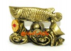 Arowana on Bed of Treasure (brass color)