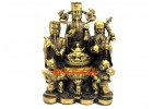Auspicious Brass Fuk Luk Sau with Wealth Pot and Kids (L)
