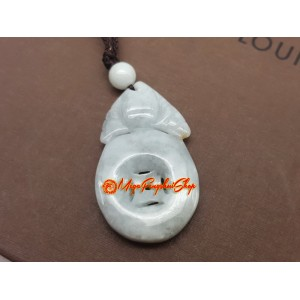 Bat Biting Coin Jade Pendant
