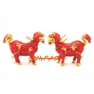 Bejeweled Pair of Red Feng Shui Pi Yao
