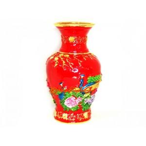 Bejewelled Action Feng Shui Vase (Red)