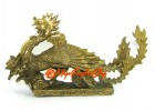 Brass Celestial Feng Shui Phoenix with Peony Flower