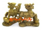 Brass Feng Shui Kei Loon on Gold Ingots