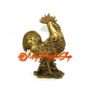 Brass Feng Shui Rooster on Coins