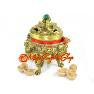 Brass Nine Dragons Incense Burner (L)