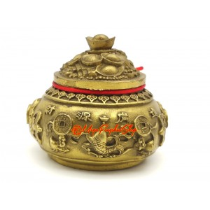 Brass Wealth Pot with Five Directional Wealth Gods (S)