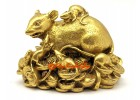 Brass Wealthy Rat Family on Bed of Riches