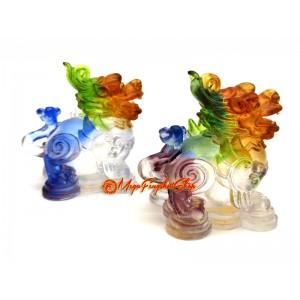 Colorful Liuli Pair of Good Fortune Feng Shui Pi Xiu