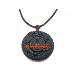 Dragon and Phoenix with Bagua Black Obsidian Pendant
