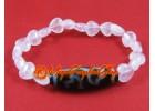 Dzi Bead with Rose Quartz Crystal Hearts Bracelet