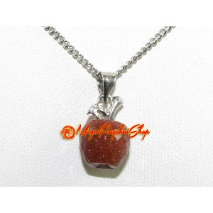 Faceted Apple Crystal Pendant Necklace (Gold Sand)