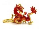 Fire Dragon Holding Fireball Feng Shui Keychain