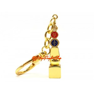 Five Element Pagoda With Om Ah Hum Feng Shui Keychain