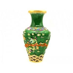 Frolicking Green Dragon Feng Shui Vase