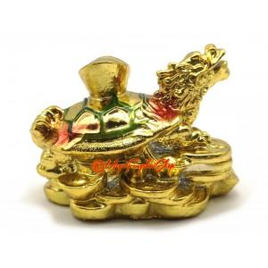 Golden Dragon Tortoise with Child on Treasure