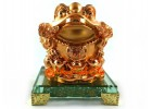 Golden Feng Shui Money Frog on Glass Base