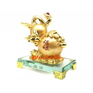 Golden Feng Shui Wu Lou with Ruyi and Coins